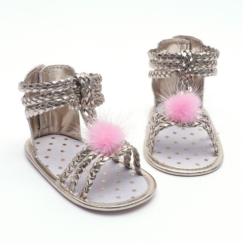 Summer Baby Girl Soft Sole Shoes PU Sandals Woven Princess Infant Prewalkers Beach Sandals