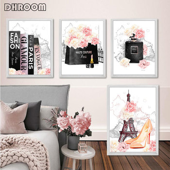 Fashion Art Poster Pink Flower Perfume Paris Tower Book Canvas Print Wall Painting Beauty Salon Girl Room Decoration Picture perfume fashion poster eyelash lips makeup print canvas art painting pink flower wall picture modern girl room home decoration