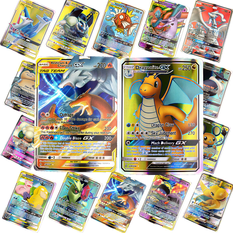 200 Pcs GX 25 50 100pcs MEGA Shining   Pokemones  Cards Game Battle Carte Trading Cards Game Children  Toy
