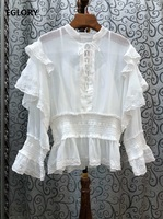 Top Quality Designer Blouse Shirts 2020 Summer Style Women Sexy Cross String Ruffle Deco Long Sleeve White Black Sexy Shirts
