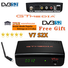 Receptor completo de hd gtmedia v7 s2x satélite h.265 DVB-S2 receptor digital atualizado por gtmedia v7s hd com usb wifi gtmedia v7s2x