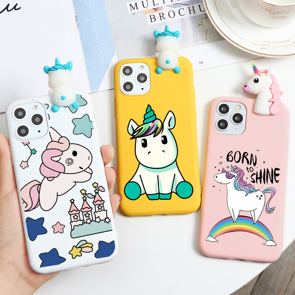 <font><b>3D</b></font> Soft TPU Silicone <font><b>Cartoon</b></font> Cell TPU New Case For <font><b>iPhone</b></font> 11 Pro XS Max X XR 11Pro 8 7 6 6S Plus 5 <font><b>5S</b></font> SE 2 2020 SE2 Case Unicorn image