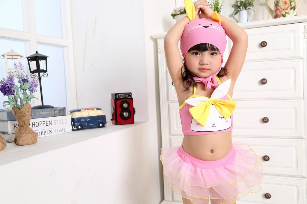 2015 New Style Baby Girls Two-piece Swimsuits Cute Cat Mizi Modeling KID'S Swimwear Girls Dance Skirt