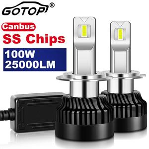 2pcs H7 Led Bulb Real 100W 25000LM H1 H8 H11 H4 9012 HIR2 Canbus Error Free Car Headlight 9005 HB3 9006 HB4 Import SS Chip Auto(China)