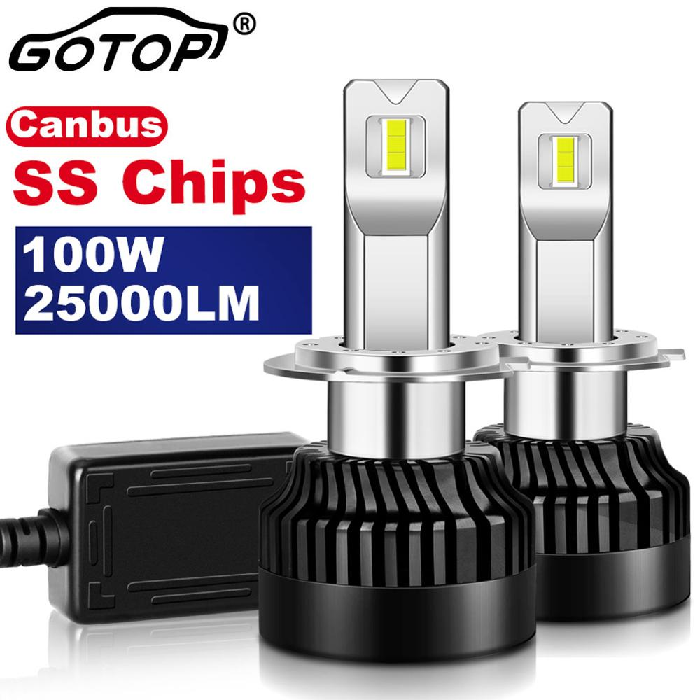2pcs H7 <font><b>Led</b></font> Bulb Real <font><b>100W</b></font> 25000LM H1 H8 H11 H4 9012 HIR2 Canbus Error Free Car <font><b>Headlight</b></font> 9005 HB3 9006 HB4 Import SS Chip Auto image