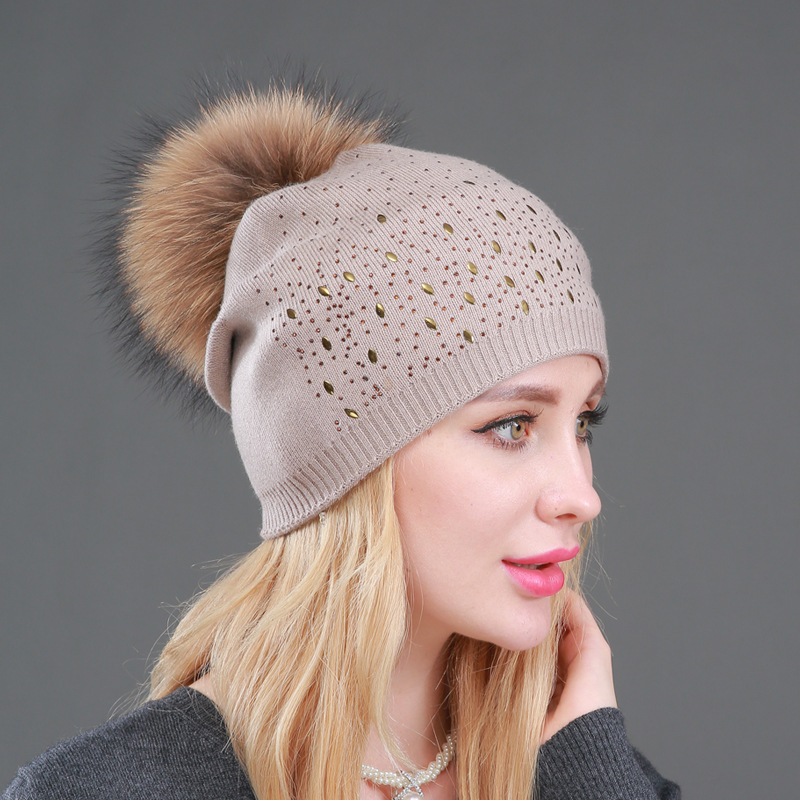 Women's Cashmere Beanie Hat With Raccoon Pompom Winter Warm Knitted Rhinestone Slouchy Beanies For Femme Pompom Ball Skullies
