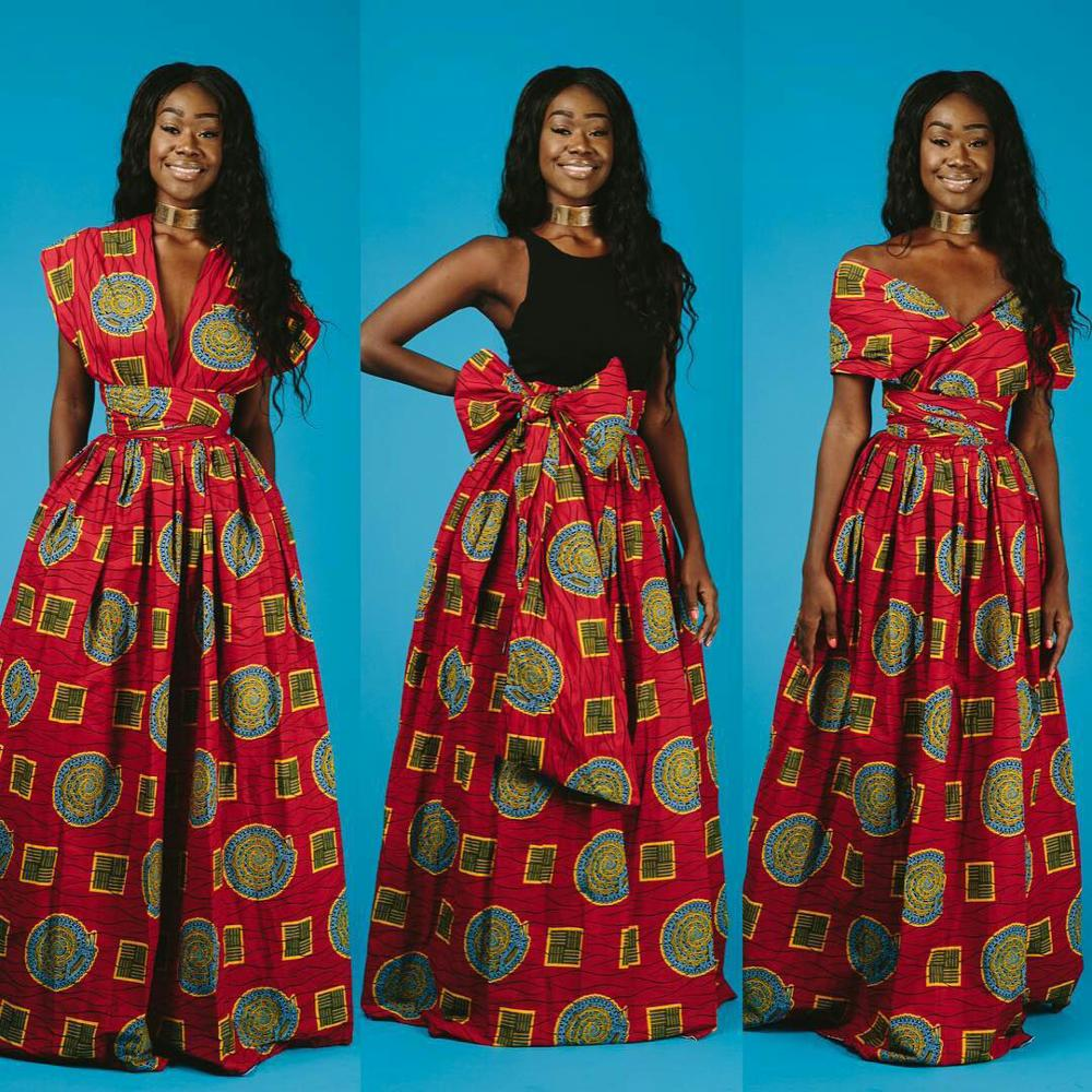 Long Dress 2020 Fashion African Dresses For Women Traditional Dashiki Print Bazin Lace Party Casual Bohemia Maxi African Clothes