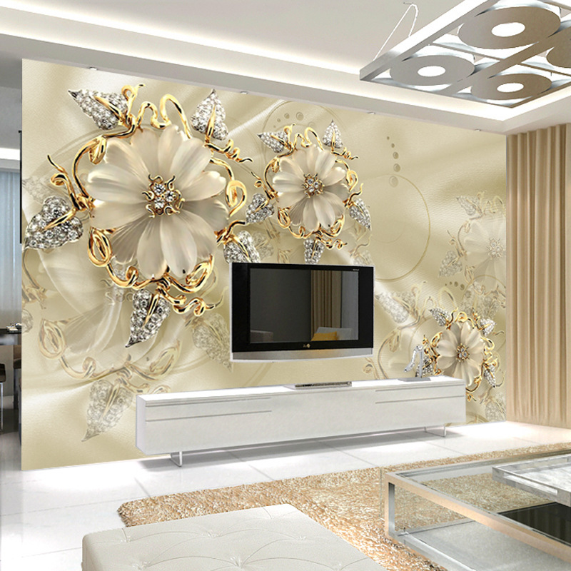 Large 3D Seamless TV Background Wallpaper Living Room Sofa Non-woven Wallpaper Warm Rose Home And Mural