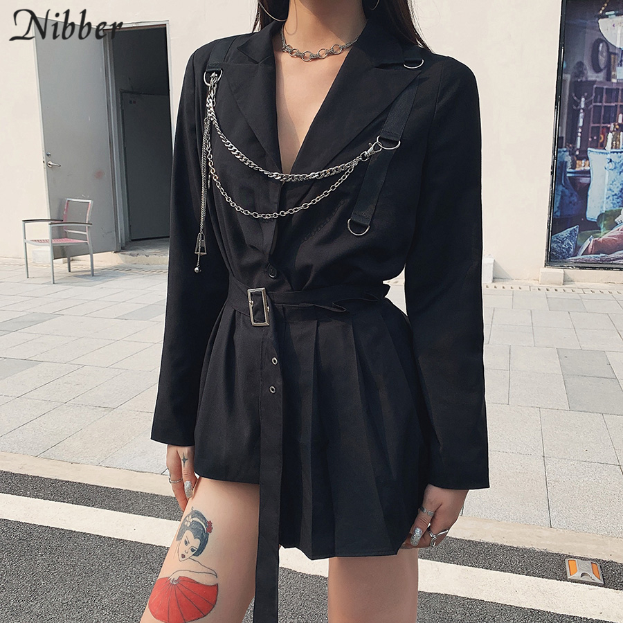 NIBBER Autumn Winter Belt Decoration Gothic Punk Tops Women Coats Patchwork Jackets 2019 Fashion High Street Leisure Coat Mujer