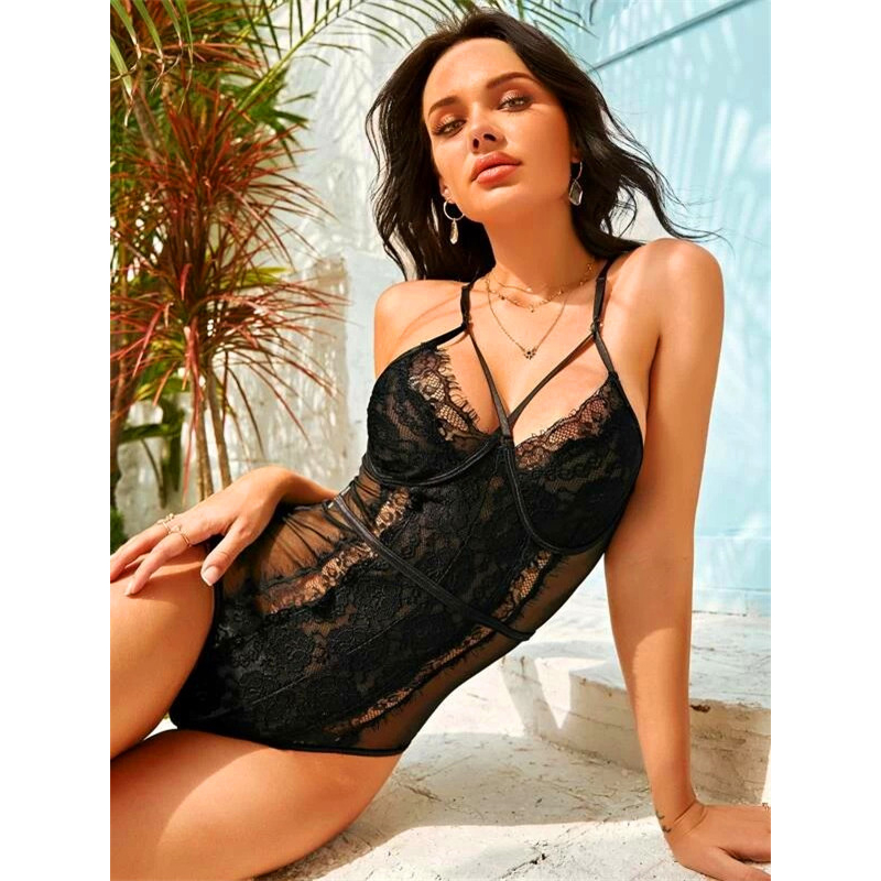 Women Snap Crotch Lingerie Sexy Lace Bodysuit Deep V Teddy One Piece Lace Babydoll