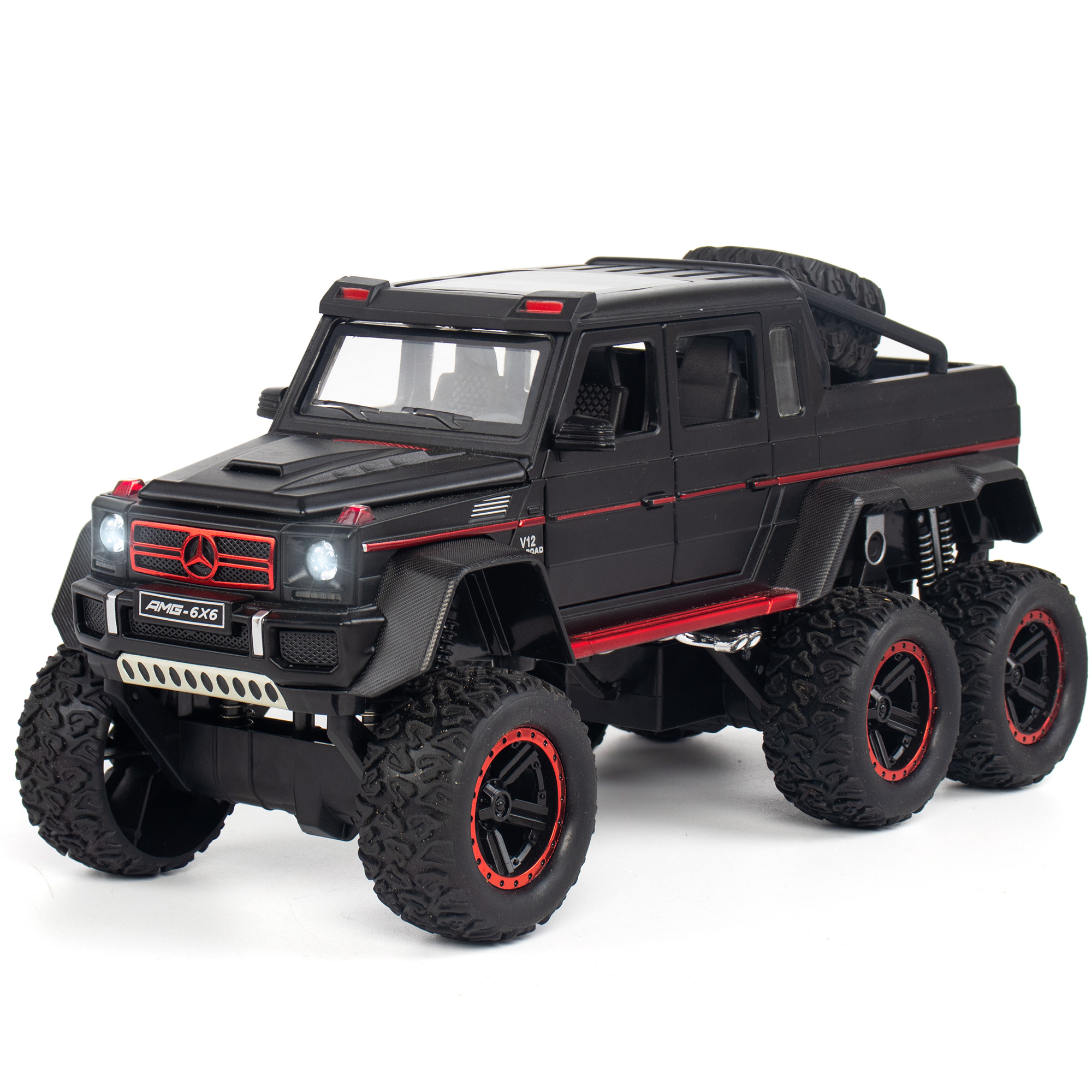1:22 New Mercedes G63 AMG 6X6 Off Road Car Model Vehicles Double Pull Back Kids Toys For Children Glowing Gift Car Collectible