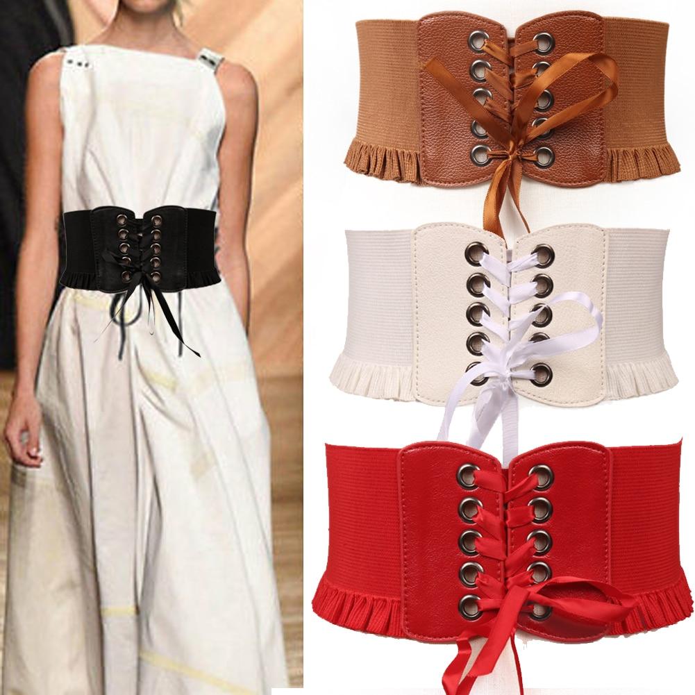 Ladies Waist Belts Stretchy Cinch Womens Wide Elastic Fashion Waistband Dress