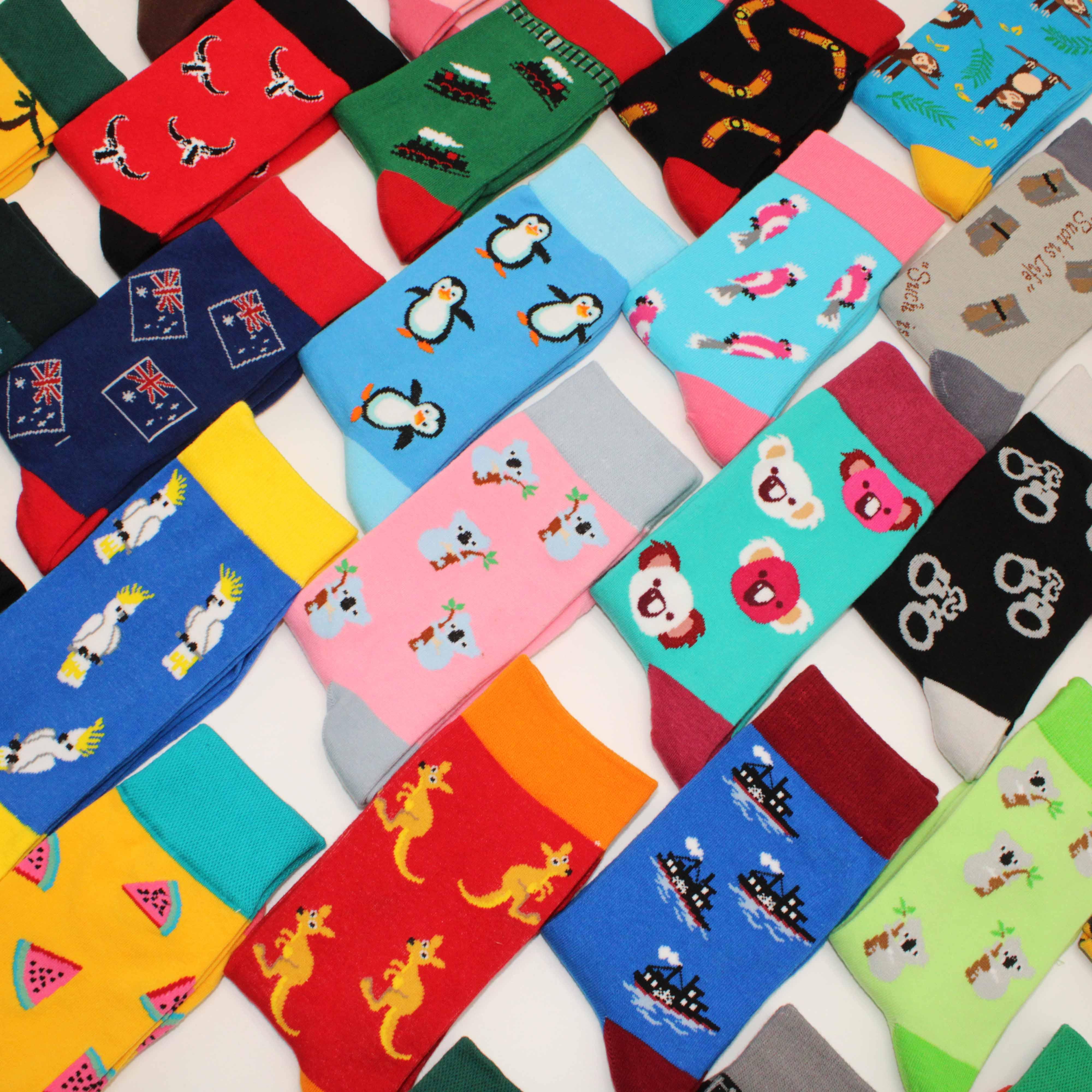 Красочные женские хлопковые короткие носки, забавные необычные женские носки с принтом фруктов, арбуза, бананов, пингвина, животных для под...