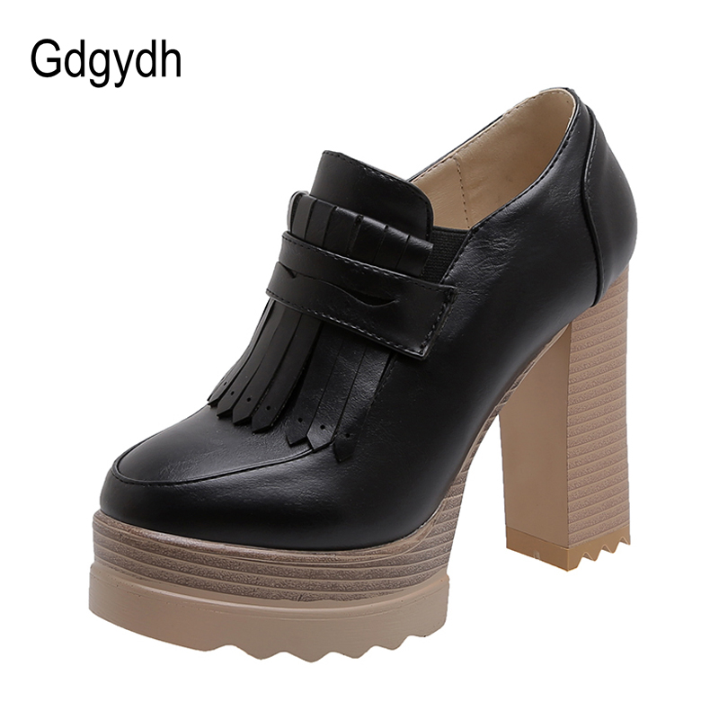 Gdgydh Spring Autumn Retro Shoes Heels Sexy Tassel Urtal High Heels Pumps Women Office Shoes Thick Platform Formal Occasions