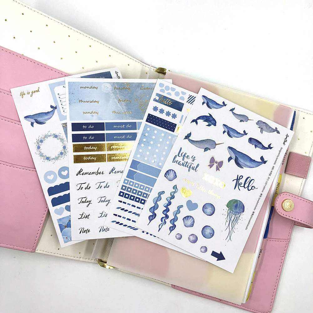 Lovedoki New Journaling Stickers Scrapbooking Planner Bullet Journal Stickers Korean Pink Flower Decorative Stickers Stationery