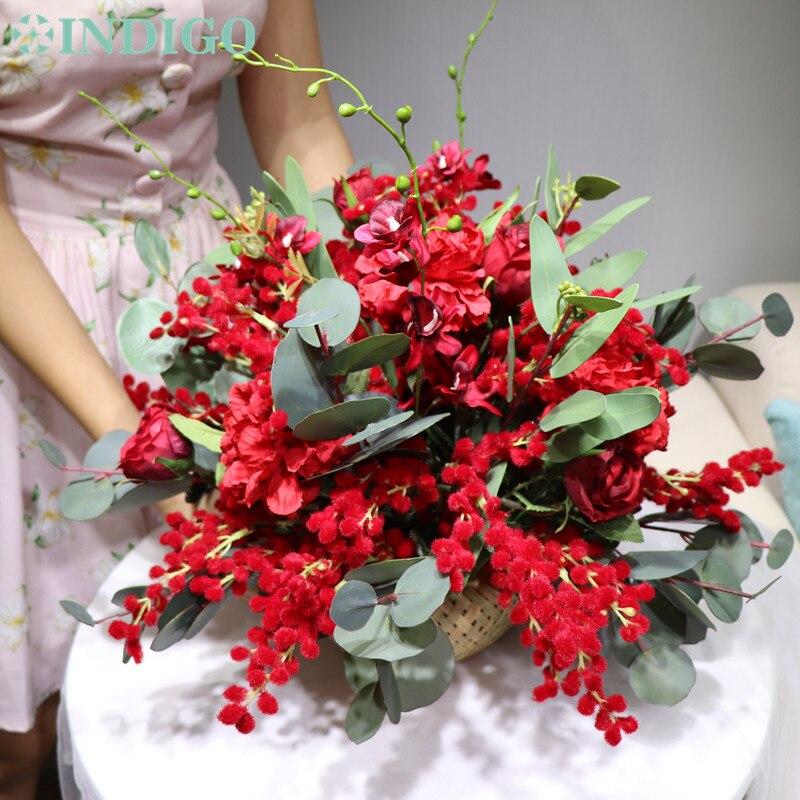 Индиго дизайн 1 комплект красный Рождество Мимоза бонсай цветок композиция с вазой искусственный цветок украшение стола Бесплатная доставка