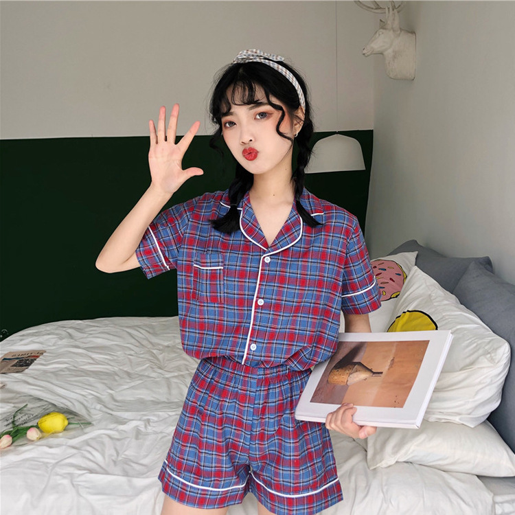 2019 Summer New Style Korean-style Fashion Color Plaid Students Pajamas WOMEN'S Suit Comfortable Home Wear Outer Wear