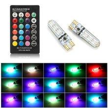 2 pièces T10 194 168 W5W RGB Led voiture dôme liseuse Automobiles cale lampe LED ampoule Flash lumière ambiante avec télécommande