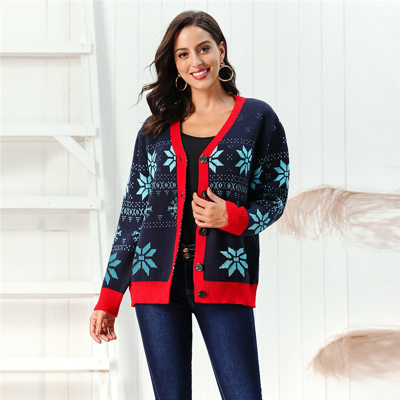 V-Neck Christmas Sweater Long Sleeve Cardigan Women Short Snowflake Print Kimono Cardigan Casual Pull Femme Nouveaute 40OCT2111