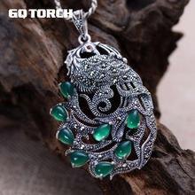 Echte Pure 925 Sterling Zilveren Pauw Natuurlijke Edelsteen Hangers Voor Vrouwen Ingelegd Groene Chalcedoon Marcasiet