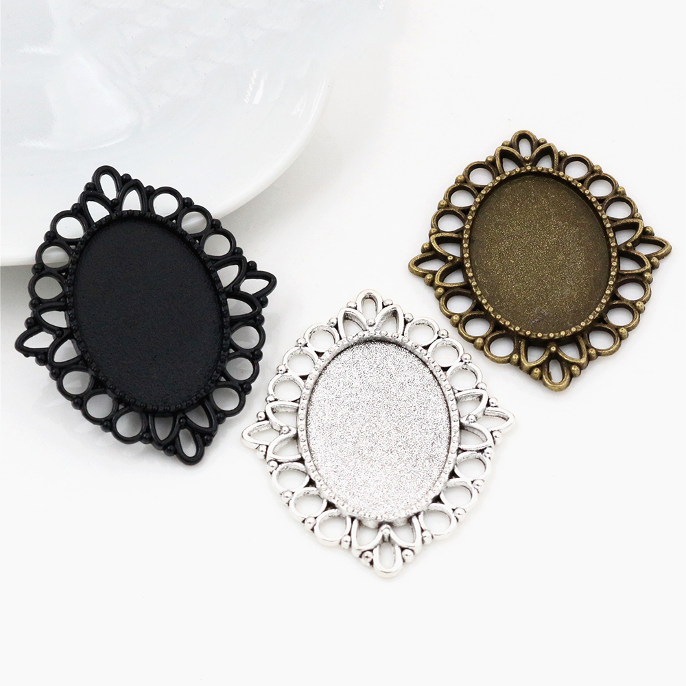 4pcs 18x25mm Inner Size 3 Colors Plated Flowers Style Cameo Cabochon Base Setting Charms Pendant Necklace Findings