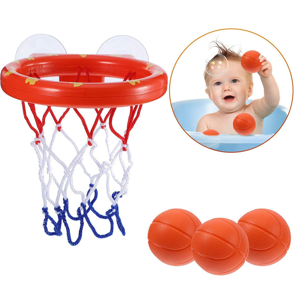Mini Funny Plastic With Hoop Balls Basketball Children Kids Bathtub Shooting Game Toy Set Bath Toys Suctions Cups