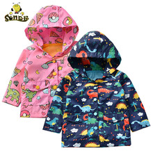 Kids jacket Boys Girls Rain Jacket Outdoor Lightweight Dinosaur Raincoats Waterproof Hooded spring jacket boys coats Mesh Liner недорого