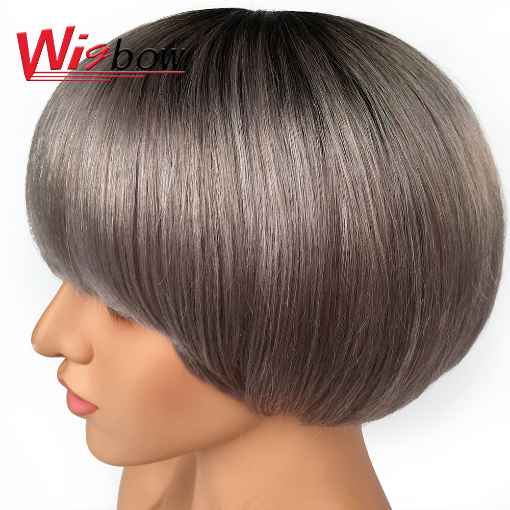 Wigbow Cheap Short Bob Wig Human Hair Wigs With Baby Hair Brazilian Hair For Women Pre-Plucked Wig T1B30 T1BGrey Ombre Color
