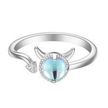 Fantástico céu-azul cristal anéis de gato para meninas feminino prata banhado ajustável jóias requintado namorada anel de casamento presente
