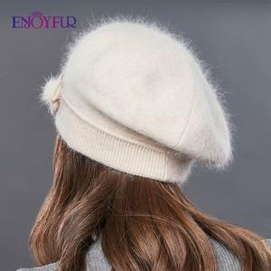 Image 4 - ENJOYFUR Kaşmir Bere Şapka Kadın Tavşan örme kışlık şapkalar Caps Lady Orta Yaşlı Kap Moda Yay Düğüm Topu Gorro Sıcak Şapka