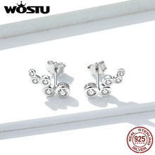 WOSTU 2019 New Design Authentic 925 Sterling Silver Earrings Simple 5 Circle CZ Stud Earrings For Women Fashion Jewelry FNE235(China)