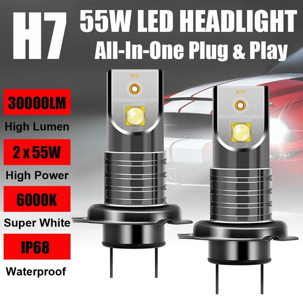 2x H7 110W 5050 CSP LED Headlight Kit Canbus Error Free Lamp 30000LM 6000K White