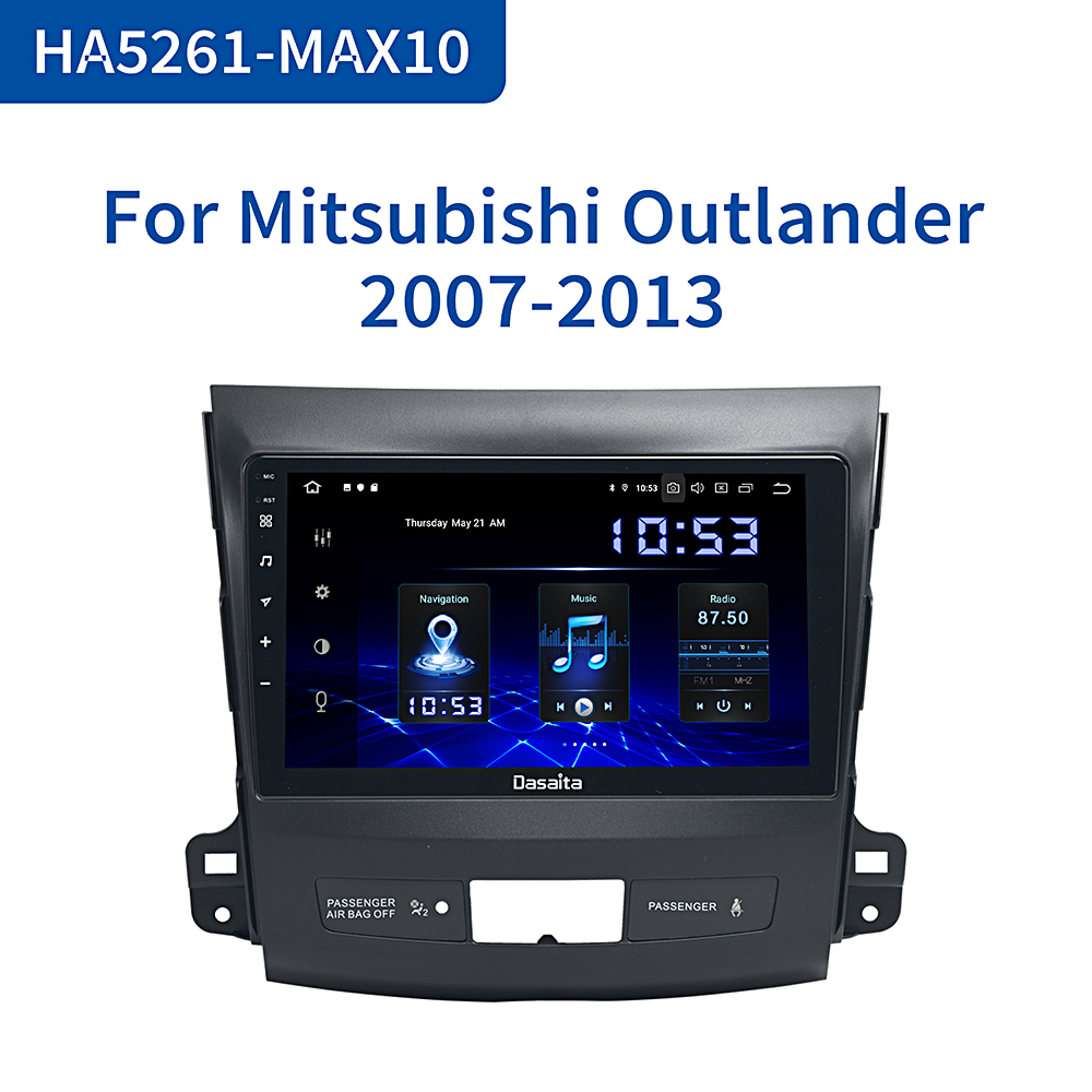 Dasaita Car 1 Din TDA7850 Android 10 For <font><b>Mitsubishi</b></font> <font><b>Outlander</b></font> <font><b>2008</b></font> 2009 2010 2011 DSP 4G RAM HDMI Car Stereo Multi <font><b>Touch</b></font> <font><b>Screen</b></font> image