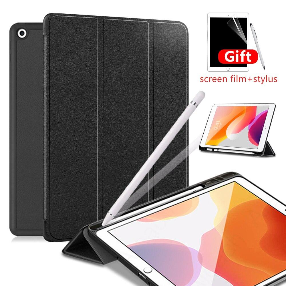 Étui pour ipad 10.2 2019 étui pour ipad 7th génération souple housse de tablette en TPU avec porte-crayons Smart funda capa + protection d'écran