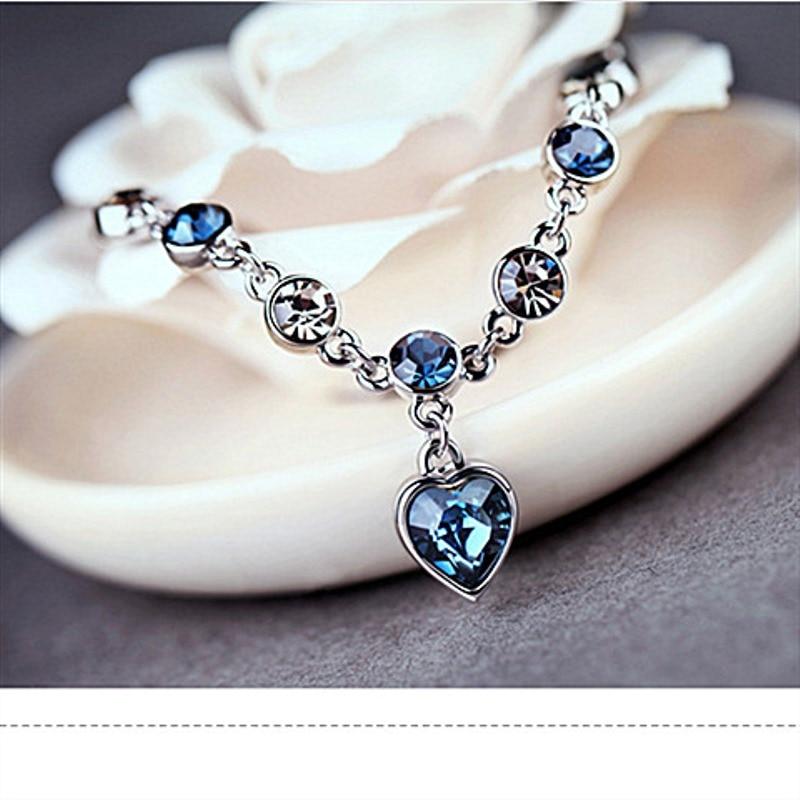 Austrian Crystal Bracelet For Woman Korean Pulsera Blue Ocean Heart Pendant Fashion Banquet Jewelry Good Friends Gift Hot 3