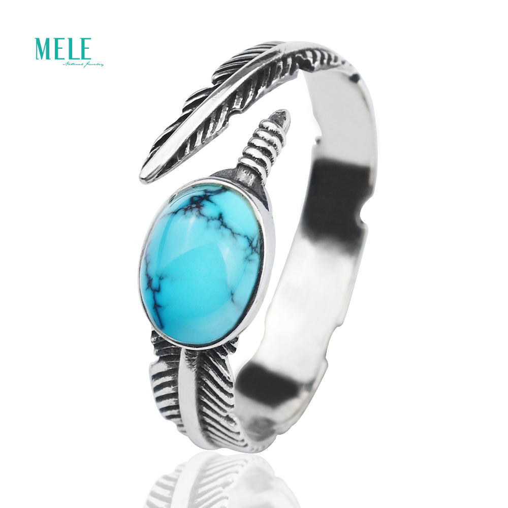 Natural Turquoise Ring 6 8mm 1ct Feather 925 Silver Retro