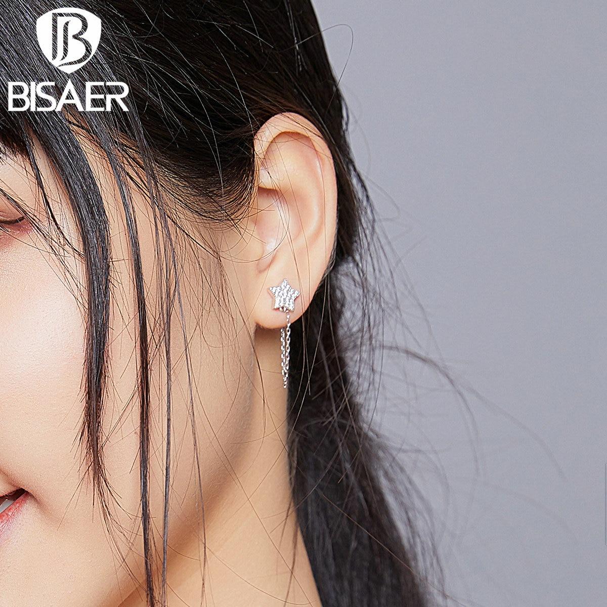 BISAER Chain Link Star Moon Drop Earring 925 Sterling Silver Zircon Long Link Dangle Earrings For Women Fashion Jewelry EFE385