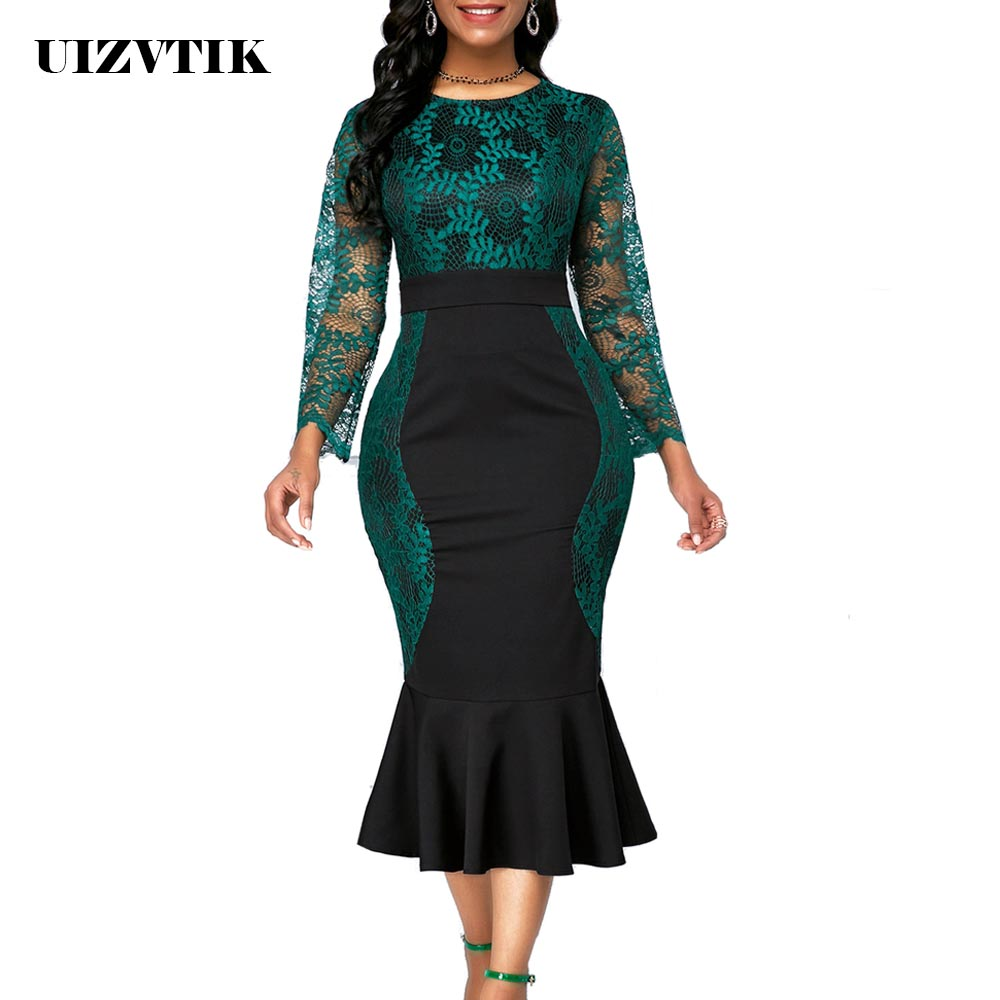 Autumn Winter Dress Women 2019 Casual Plus Size Slim Office Bodycon Dresses Vintage Elegant Sexy Lace Long Mermaid Party Dress