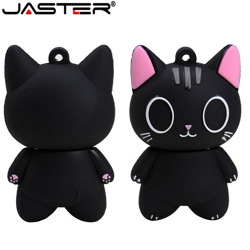 JASTER Shan TouUSB 2.0 Wholesale Black Cat Cartoon Cartoon U Disk 4GB 8GB 16GB 32GB 64GB USB 2.0 High Speed Flash Drive