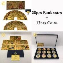 DBZ-monedas chapadas en oro con 12 Uds., Set de billetes de Anime, Son Goku, bebita, Piccolo, Torankusu, 28 Uds.