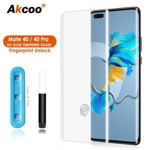Akcoo для Huawei Mate 40 Pro защита для экрана УФ-стекло пленка полный экран клей для Mate40 закаленное стекло чехол дружественный RS крышка