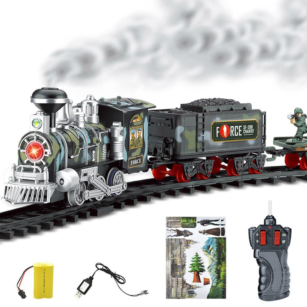 Electric Smoke Remote Control Rail Train Rechargeable Classic Steam Train Toy Sets Train Railway Sets Robot Toys for Children