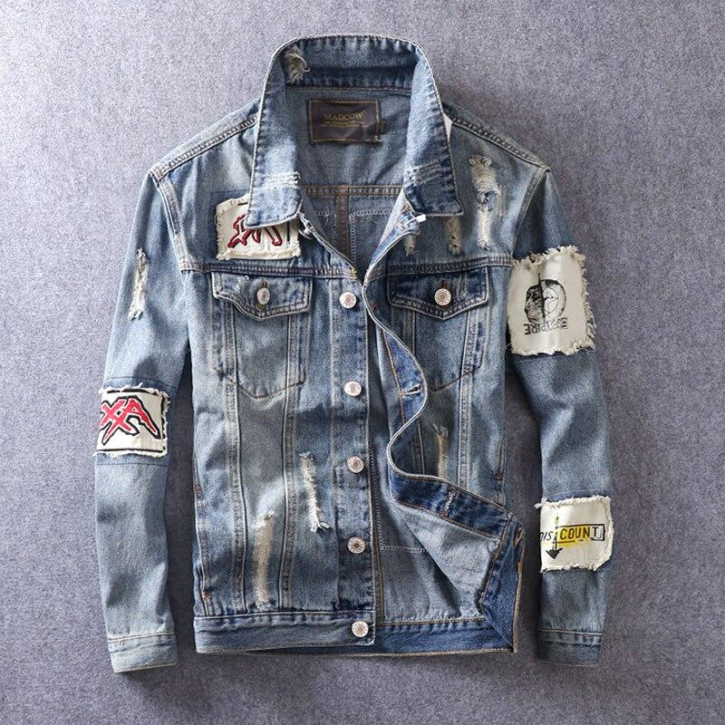 Newly Fashion Men Jackets High Quality Slim Fit Patches Designer Denim Jackets Men Hip Hop Casual Coats Streetwear Biker Jackets Aliexpress