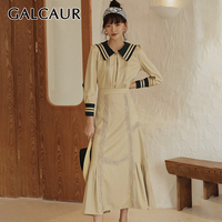 GALCAUR Casual Two Piece Set For Women Sailor Collar Long Sleeve Shirt Patchwork Lace Skirts Female Suit 2019 Autumn Fashion New