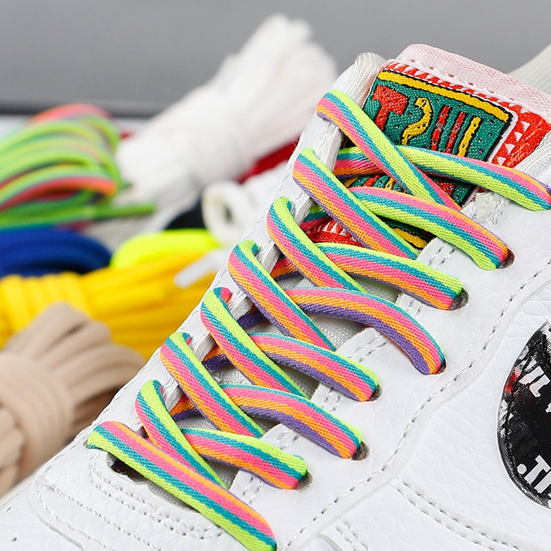 1 Pair Round Shoelaces Solid Rainbow Shoe Laces Outdoor Leisure Sneakers Unisex Shoe Lace Classic Martin Boot Shoeslace