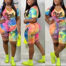 New Tie Dye Outfits Plus Size Two Piece Set Women Pink Letter Print Short Sleeve