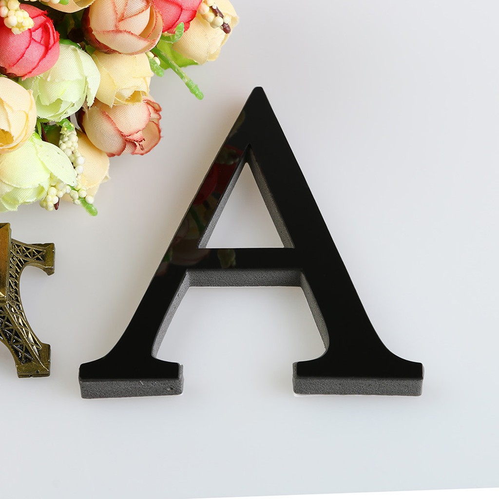 Черные Декоративные буквы 15 см, 26 букв «сделай сам», 3D зеркальная акриловая Наклейка на стену, домашний декор, настенное искусство, аксессуа...