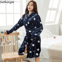 Robes Women Winter Long Sleeve Flannel Bathrobes Womens Warm Sleepwear Coral Fleece Korean Style Print Elegant Pyjamas Chic New