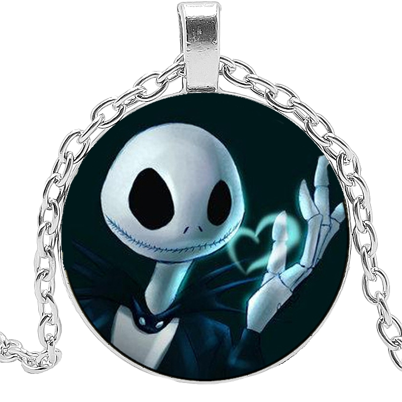 2019 New Hot Christmas Night Scare Jack Glass Cabochon Pendant Necklace Electric Shock Skeleton Necklace Pendant Creative Gift in Pendant Necklaces from Jewelry Accessories