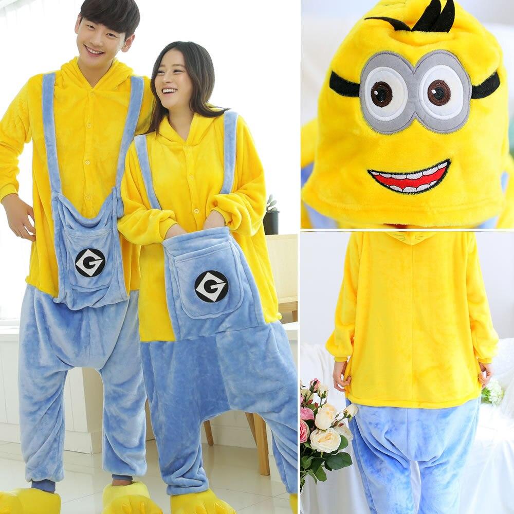 Kigurumi Pajama Minions Adult Animal Cartoon Hooded Onesie Women Men Couple 2019 Winter Pajamas Suit Sleepwear Flannel Pijamas